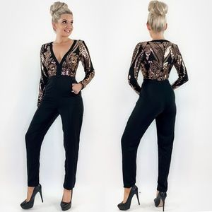 Long Sleeve Sequin Pant Jumpsuit